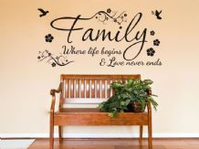 Family Wall Quote Where life begins Vinyl Sticker Wall Art Home Mural Decal v3
